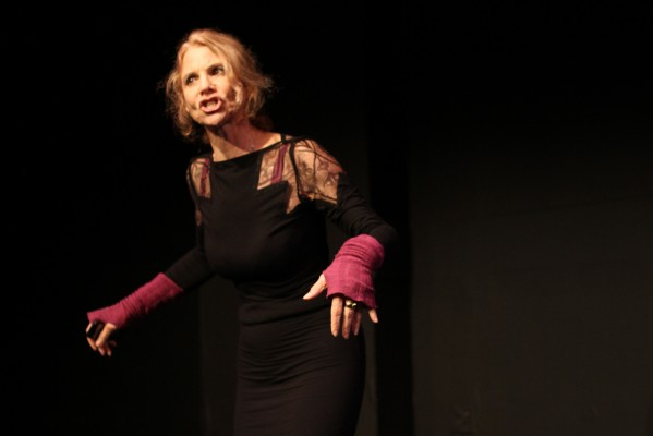"Barbara Anderson performs a scene from her play ""Swimming Under Water"" during a Monday evening at The Marsh theater."