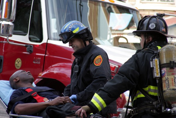 A firefighter was treated for dehydration, according to Mark Gonzales of the San Francisco Fire Department.