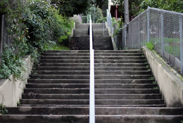 Stairs going up to Bernal Hill.