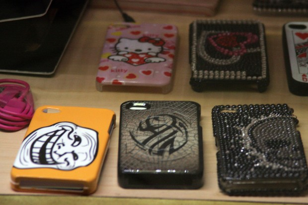 An iphone case depicting the face of a troll. As seen on compupod, an electronics store on Mission Street.