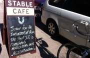 Stable Café owner, Thomas Lackey, openly expresses his irritation with city repairs in his business.