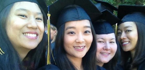 From left to right: Jessica Lum, Bo Hee Kim, Julia Chan and Hyun Jin Seo celebrate their graduation from UC Berkeley Journalism School in May 2012.