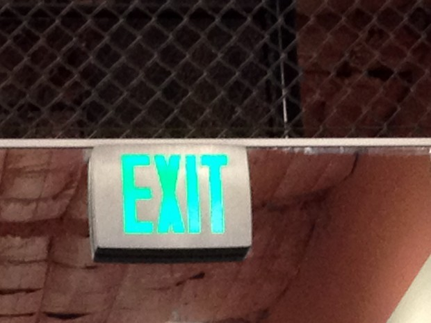 The exit sign at 24 Hour Fitness at 16th and Bryant streets.