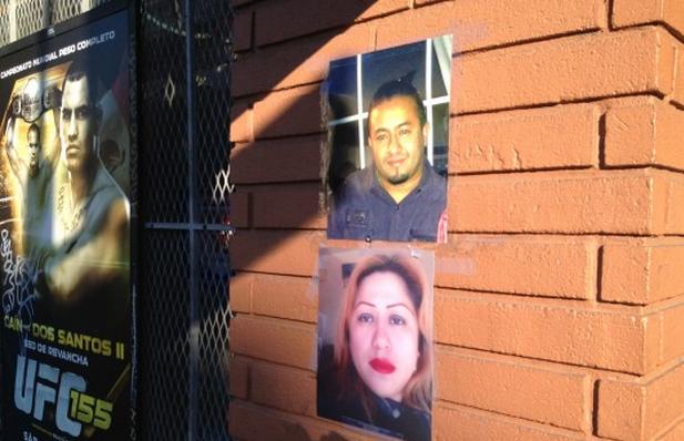 Photos of collision victims Francisco Gutierrez and Silvia Tun Cun at Muzio's Wine Liquor Store. Photo by Carly Nairn