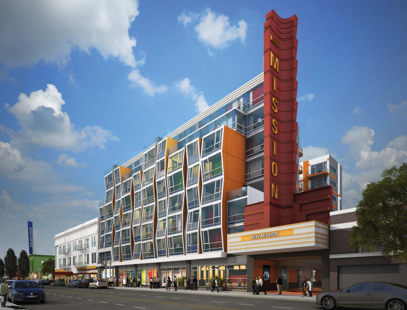 Renderings of the proposed developments at 2558 Mission St. If approved, The New Mission Theater would be restored and a 114-unit development will be erected next door.