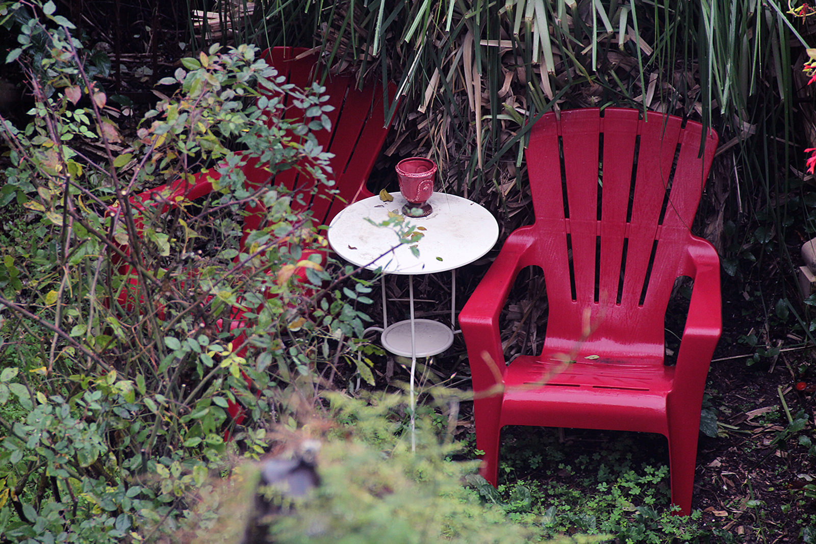 A red chair out in the rain in a backyard.
