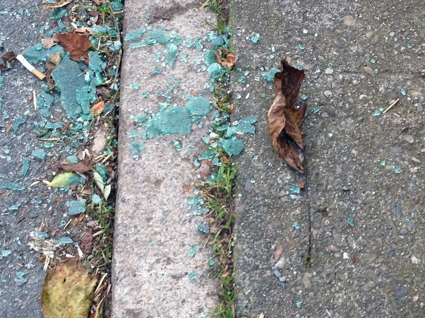 Broken glass on Folsom Street.