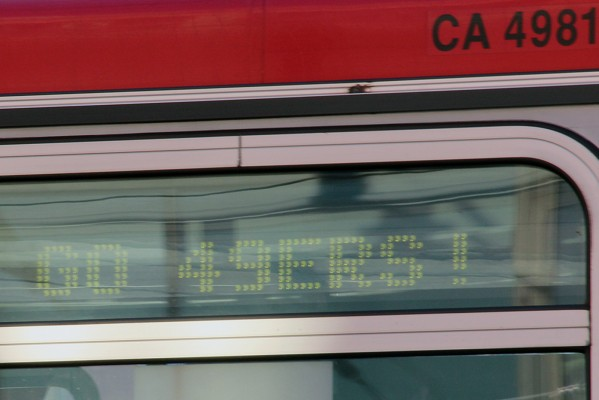 """Muni has traded its """"Go Giants"""" sign for a """"Go 49ers"""" one as San Francisco prepares for the Super Bowl."""