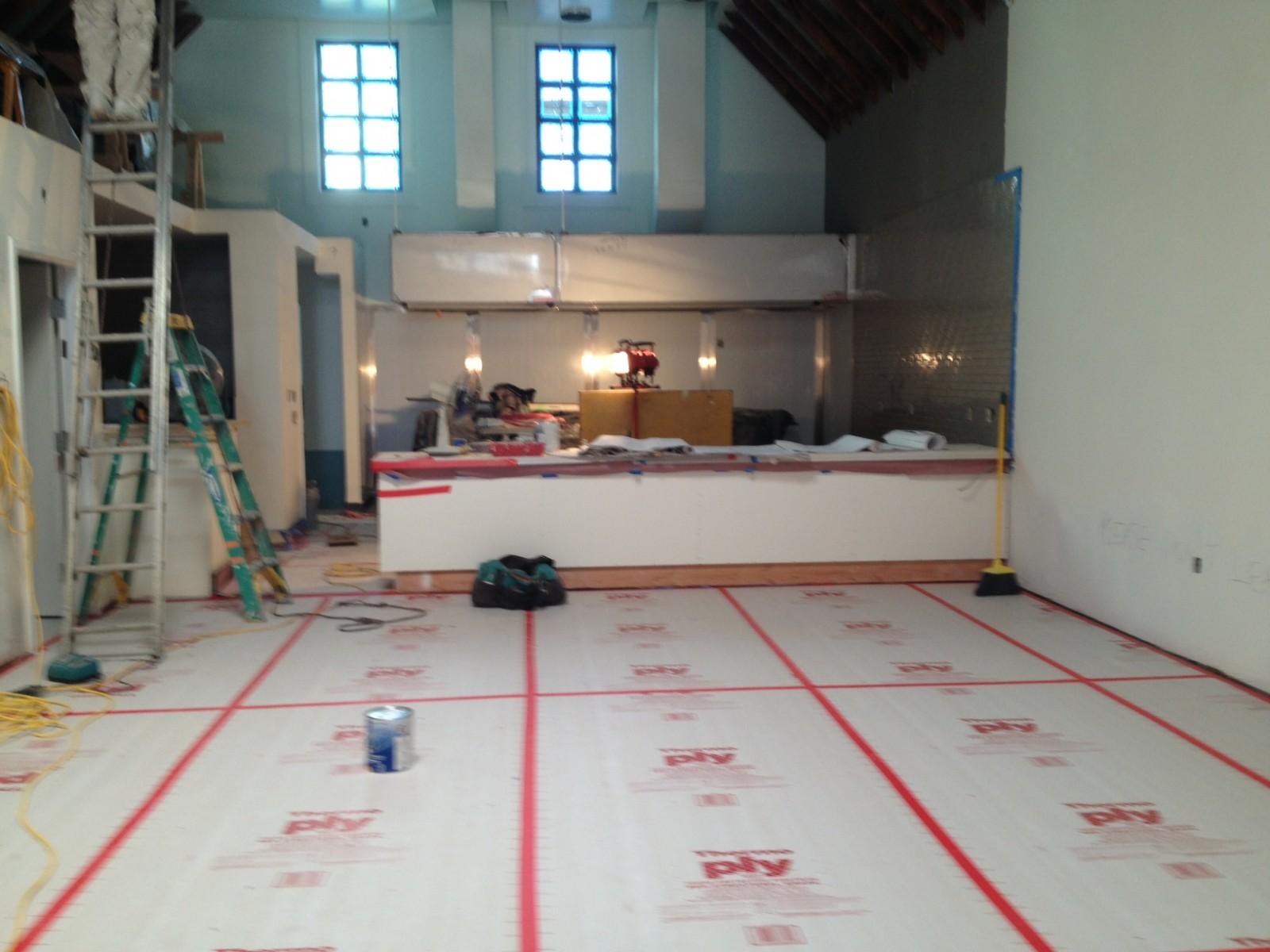 Still under construction, the interior of Hi Lo BBQ.
