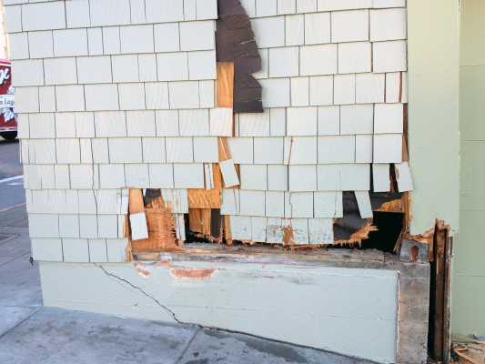 A car crashed into a building at 21 St. and Potrero Ave. Thursday.
