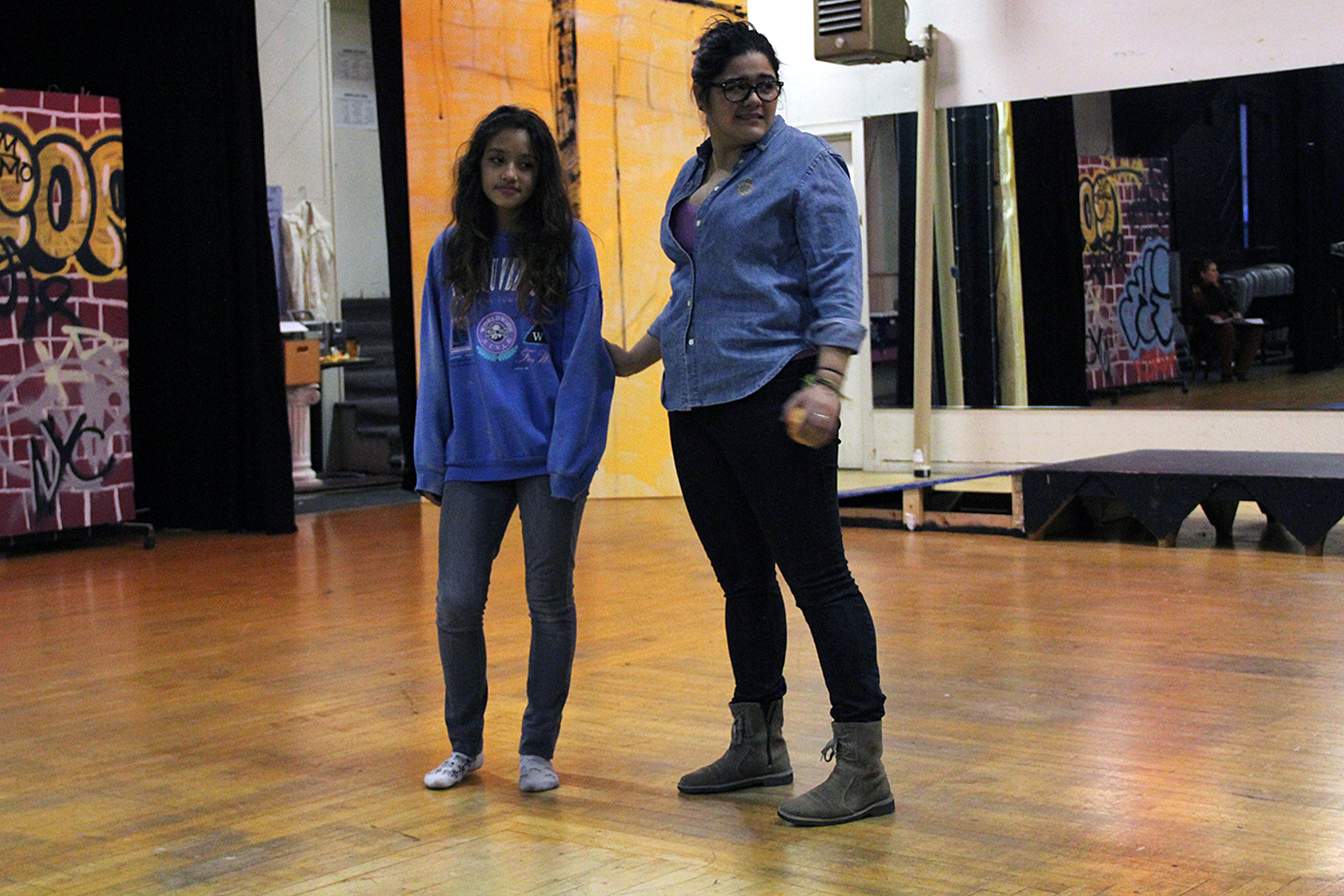 """Angelina Orellana (right) rehearses with another actress for """"In and Out of Shadow"""" January 15."""