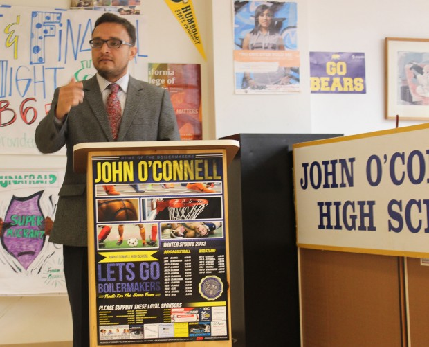 Supervisor David Campos speaks at a press conference at John O'Connell about the importance of applying for financial aid. Photo by Erica Hellerstein.