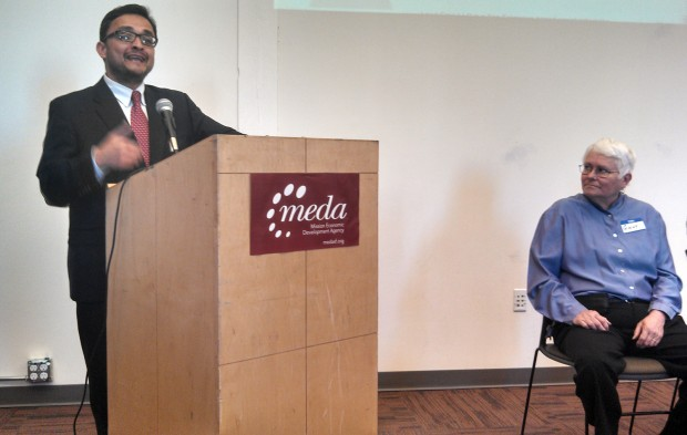 Supervisor David Campos talks about MEDA's new initiative to end childhood lead poisoning. Photo by Erica Hellerstein.