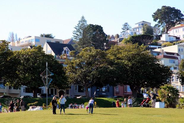 People enjoy Dolores Park.