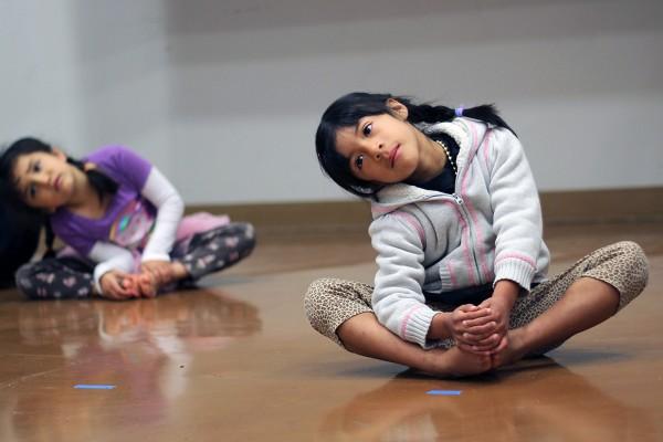 """Children participate in Loco Bloco's """"Bloquito"""" class."""