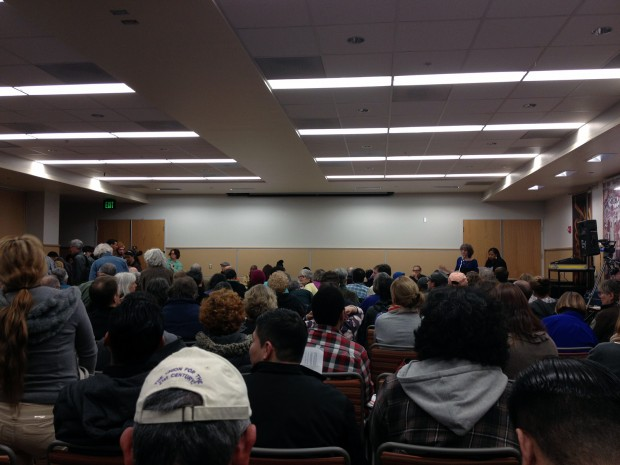 Hundreds of people gathered in an auditorium at Mission Campus for the launch of the Save City College Coalition Wednesday.
