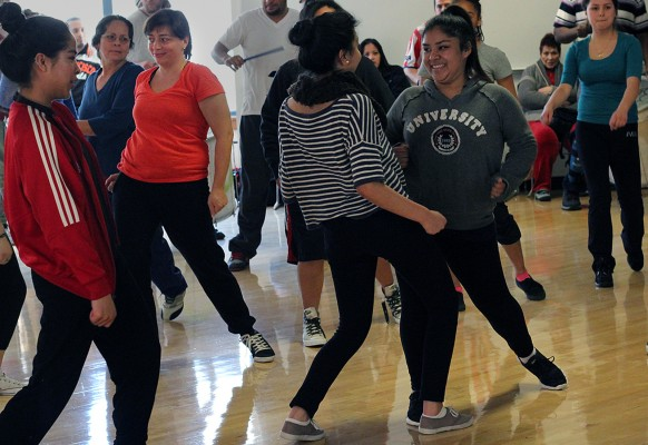 "Students dance during Loco Bloco's ""Hella Loco Carnaval"" classes Saturday."