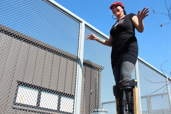 No hands! A participant stilt-walks without holding on to the wall.