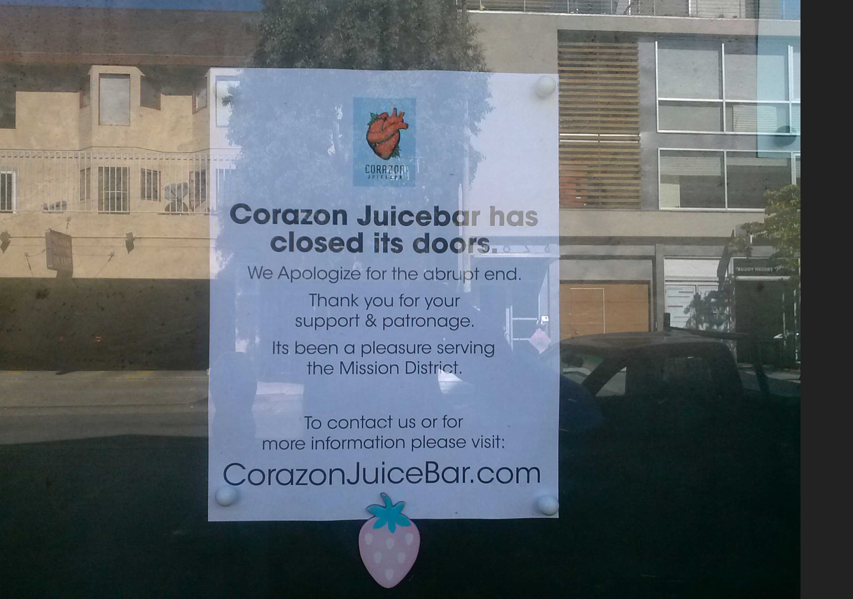 Corazon Juicebar Closes Its Doors