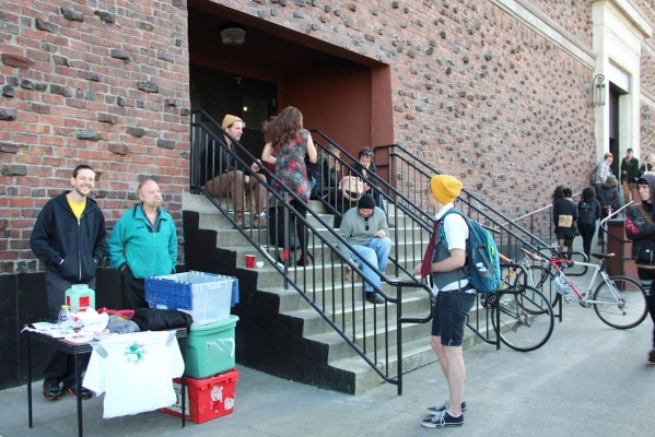 People outside the Armory for the annual Anarchist Book Fair. Photo by Carly Nairn,