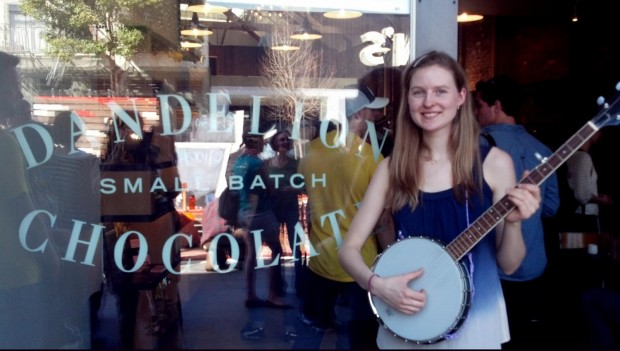 Caitlin Lacey, 25, plays banjo in the band Caitlin Lacey & the Twin-Not-Twins.