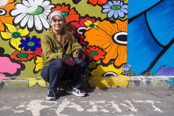 Kim Diehl at Clarion Alley during her lunch break. She lives on Nob Hill and works at Community Thrift Store on Valencia Street.
