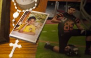 Photos of Jacob Valdiviezo in an altar inside his home on Bryant Street. Valdiviezo was shot and killed early Saturday morning as he was coming home from a party.