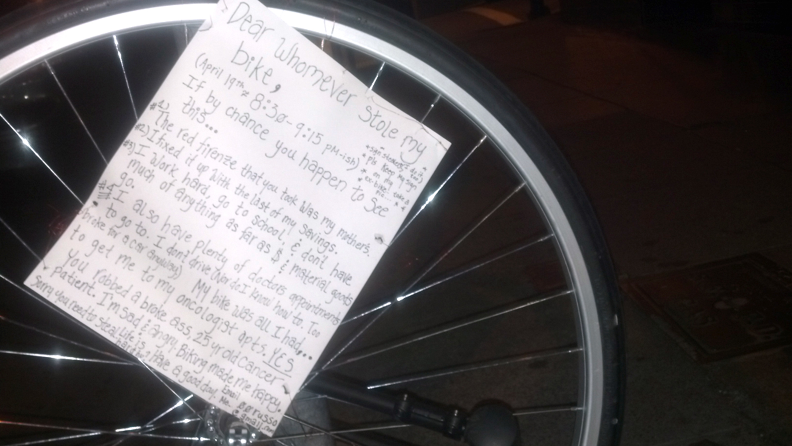 Cancer Patient Leaves Note for Bicycle Thief