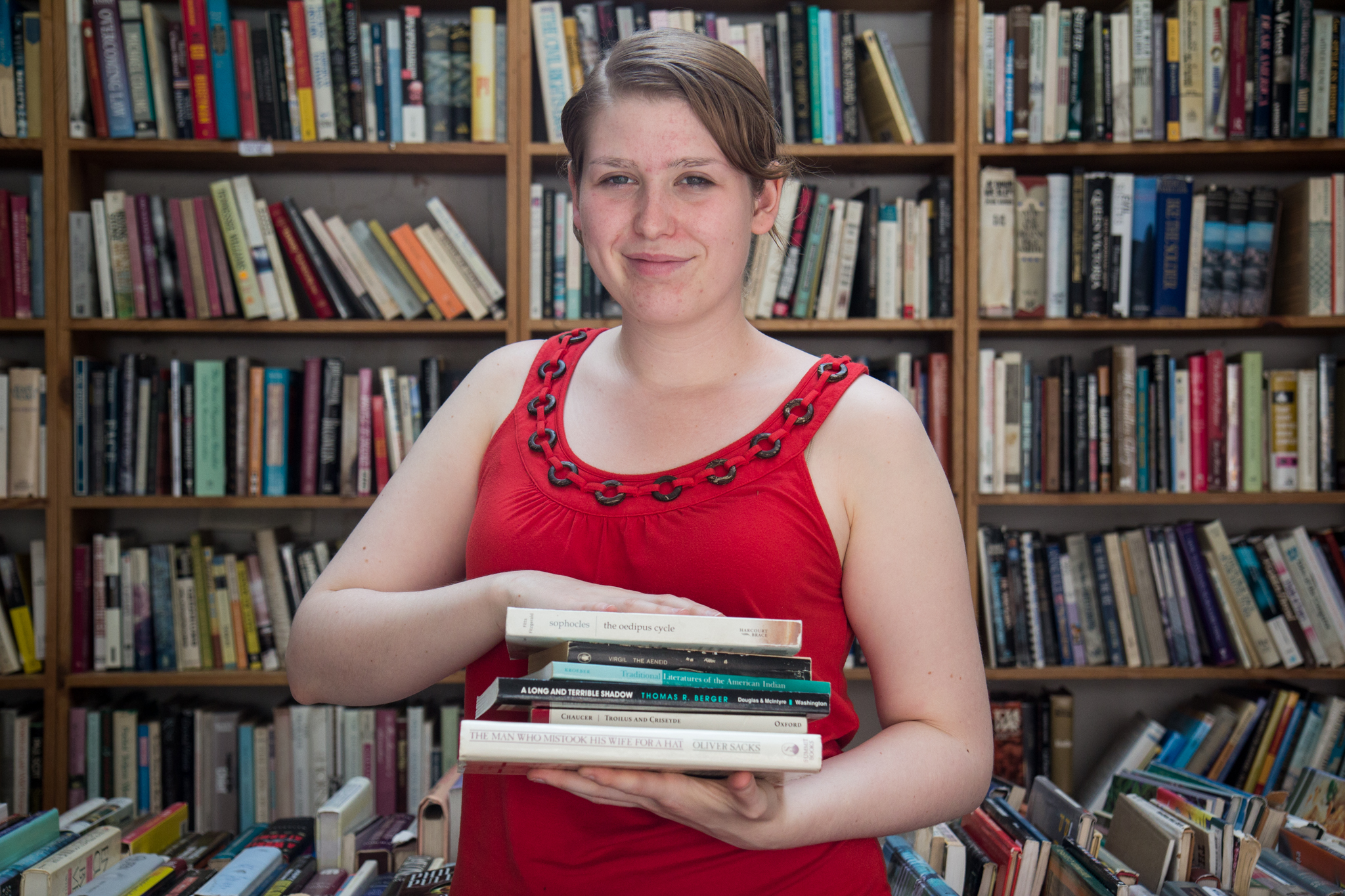 """This is dangerous because I want to take them all. I have a shelf at home of books that I would like to read. I came with an almost empty bag today."" Hanna Nelson, 21."