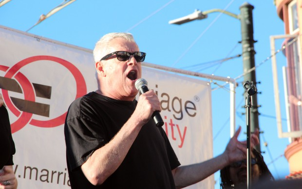 """Activist Cleve Jones spoke to the crowd, explaining, """"Prop. 8 came like a slap across the face, but we have buried that today."""""""