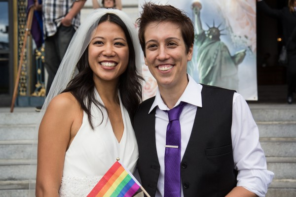 Jenny Chang and Lisa Dazols in front of City Hall after the Prop. 8 and DOMA rulings. Photo by Marta Franco.
