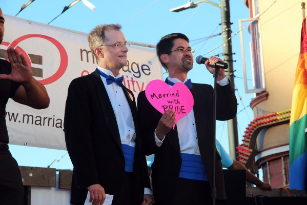 """Married in 2008 and early plaintiffs in the lawsuits leading up to the Prop. 8 fight, John Lewis (left) and Stuart Gaffney were dapper grooms once again. """"We're not here to recruit you, we're here to marry you!"""" Gaffney said."""