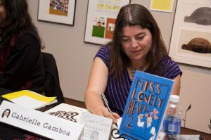 Gabrielle Gamboa drawing during the event.