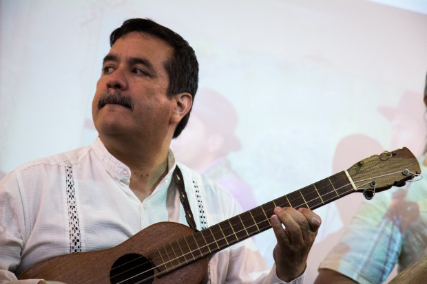 A string band played Latin American music during the party.