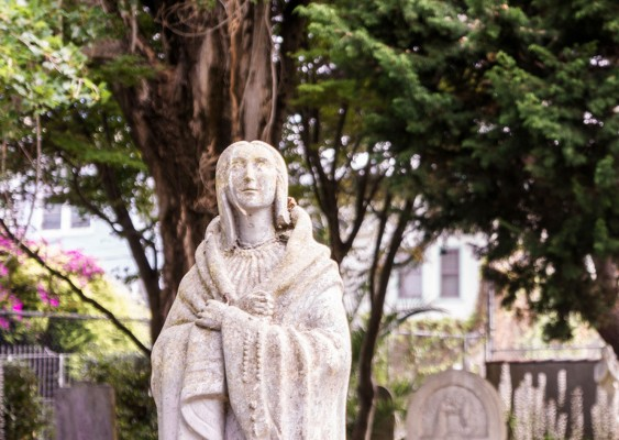 Kateri Tekakwitha, Our Lady of the Mohawk in the Mission Dolores Cemetery reminds me that someone with a heart motivated with love may still be led astray.