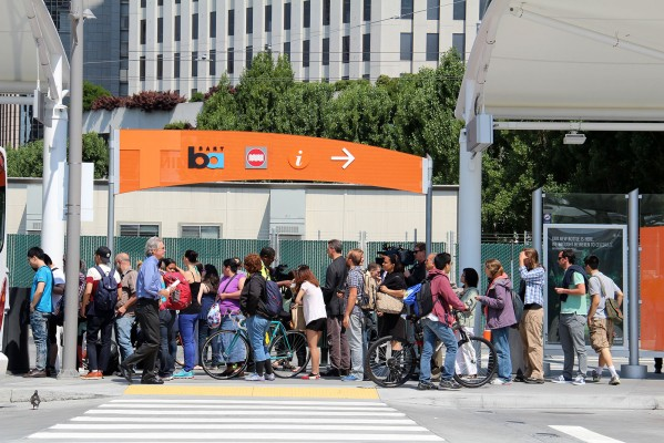 The Temporary Transbay Terminal was crowded in early July with people making alternative travel plans during the BART strike.