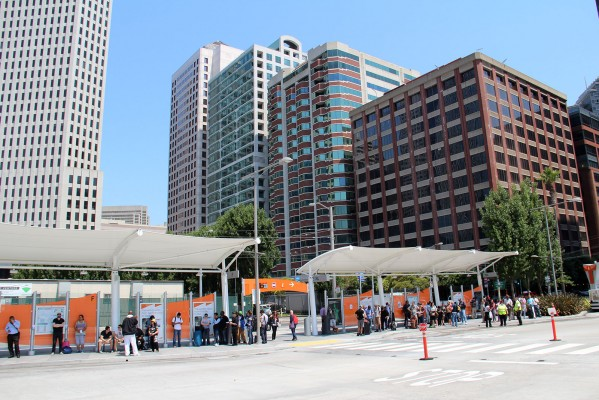 The platforms at the Temporary Transbay Terminal at Howard and Beale Streets were packed with people Tuesday morning and afternoon.