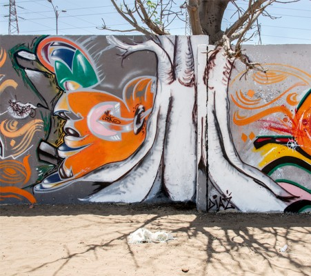 Docta's completed mural at the HLM neighborhood.