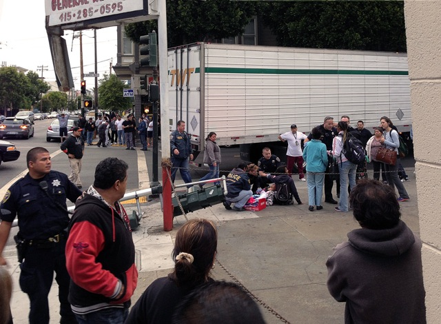 Two Women Injured When Trailer Truck Knocks Down Light on 24th and South Van Ness