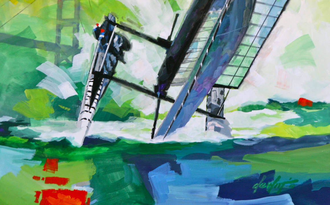 Artists will be painting America's Cup sailboats along the waterfront. Image courtesy of FunCheapSF.