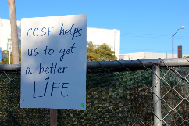 On the day of the CCSF rally downtown, this sign was left at the 24th Street BART station.