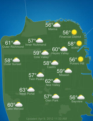 San Francisco microclimates as represented on the SF Climates app. Image courtesy Baker Beach Software.