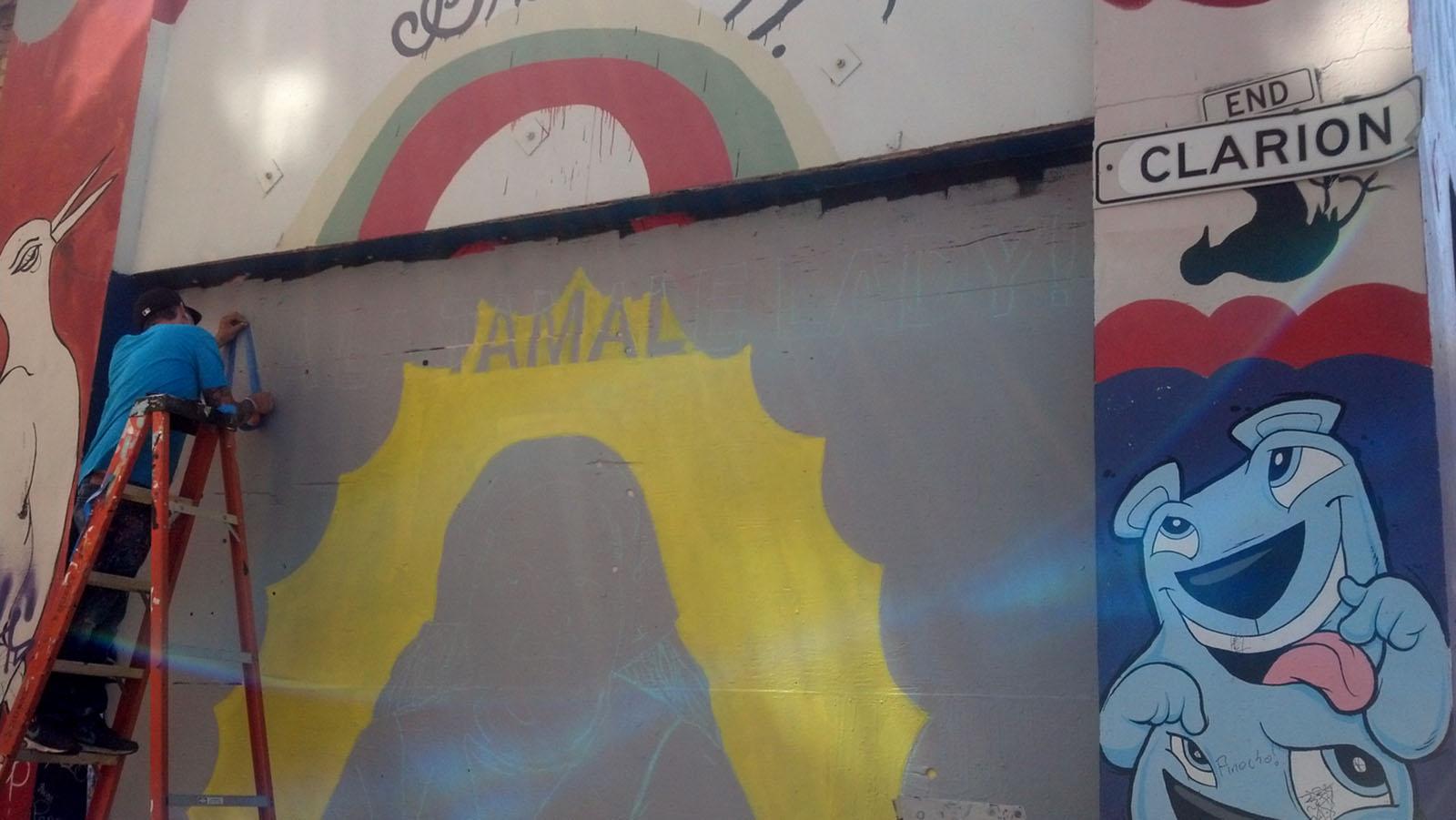 Tamale Lady Mural in Progress!