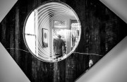 """According to Anthony, the neon infinity mirror installation by Erik Otto is one of the more popular works being exhibited. """"People love to put themselves in the art."""""""