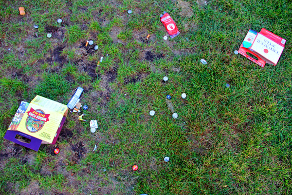 """What can't be recycled —like beer boxes and bottle caps — often gets left behind on the weekends. """"People pick up after themselves here,"""" said 29-year-old San Francisco resident Anthony Smith-Winters. """"It's just the little trash like the beer and pizza boxes that get left. It kind of sucks."""""""