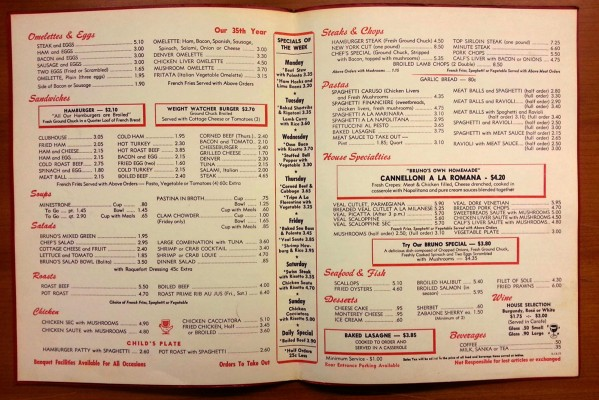 Bruno's 35th anniversary menu, dated May 13, 1977, features Italian classics such as cannelloni, lasagna and various preparations of veal. The Tuesday special, osso buco with risotto, was $3.70 back then. Adjusted for inflation, that would be $14.60 today — a great deal by any standard.