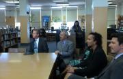 Secretary Sean Donovan (far left) and Mayor Edwin Lee listen to students and teachers at Everett. Photo by Andra Cernavskis