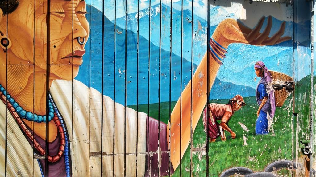 Mural of Nepali village. Photo by Erica Hellerstein.