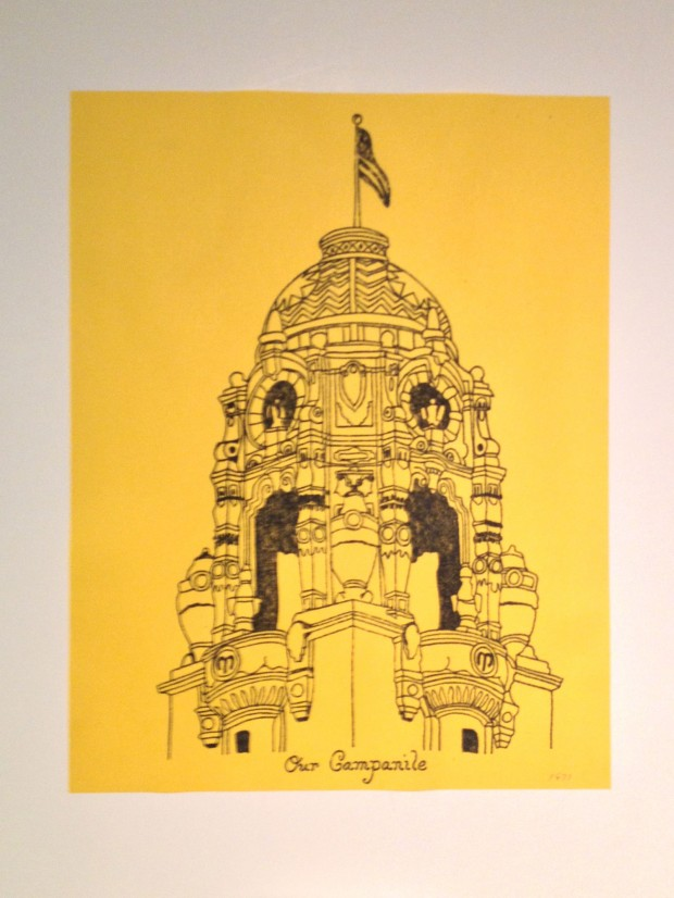 A drawing from the Mission High School Museum. Photo by Emily Gibson.