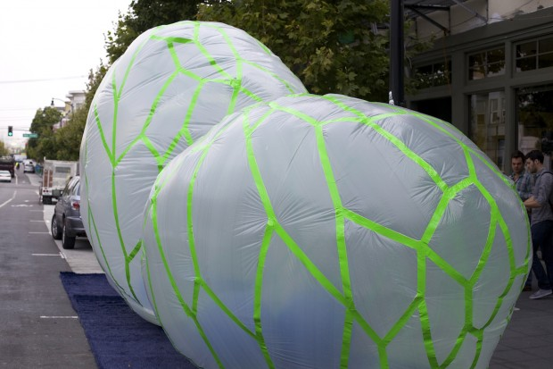 An inflatable park designed by Interstice Architects for Park(ing) Day 2013.